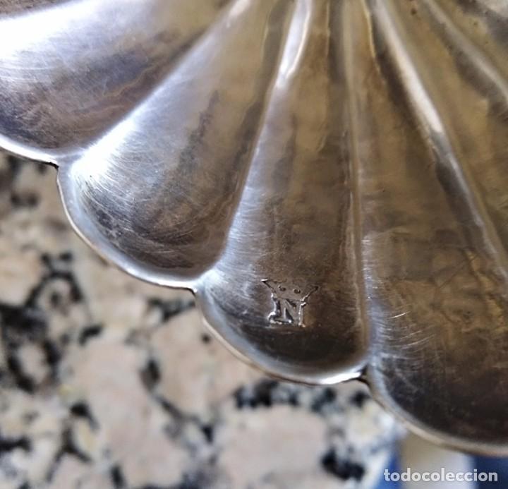 Antigüedades: Antigua salsera de plata contrastada estilo rococo - Foto 3 - 204398605