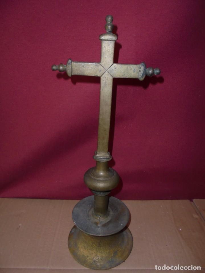 MAGNIFICA CRUZ DE ALTAR SIGLO XVII-XVIII,SALIDA 1 EURO (Antigüedades - Religiosas - Cruces Antiguas)