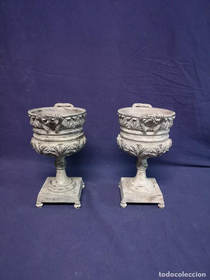 Antigüedades: PAREJA DE COPAS BRONCE PINTADAS - Foto 4 - 204408135