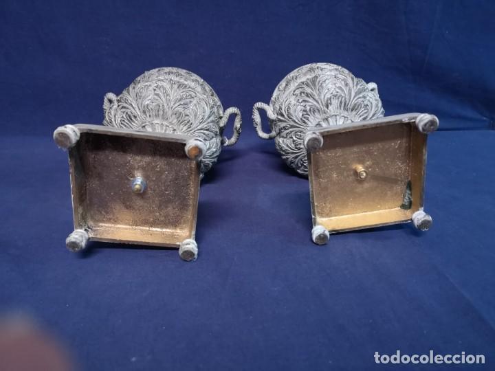 Antigüedades: PAREJA DE COPAS BRONCE PINTADAS - Foto 10 - 204408135