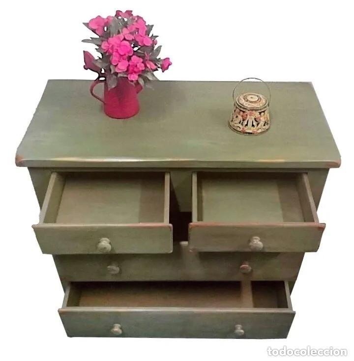 Antigüedades: cómoda maciza, verde oliva annie sloan, preciosa. Ver fotos. - Foto 2 - 204415855