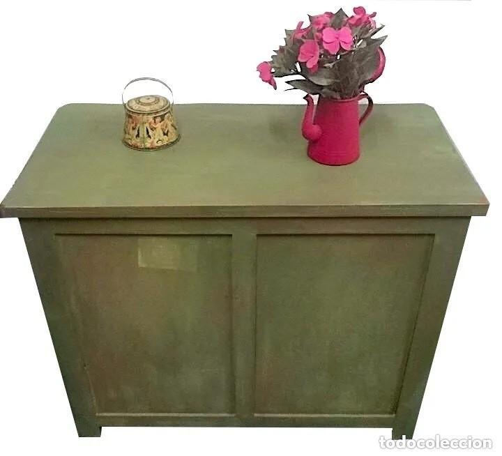 Antigüedades: cómoda maciza, verde oliva annie sloan, preciosa. Ver fotos. - Foto 3 - 204415855
