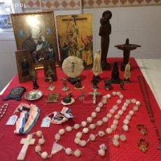 Antigüedades: LOTE ARTICULOS RELIGIOSOS - ROSARIOS - IMÁGENES - MEDALLAS - ESCAPULARIOS - ETC. - MISMA PROCEDENCIA. Lote 204416847