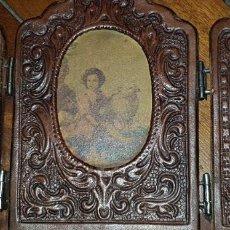 Antigüedades: ANTIGUO TRÍPTICO RELIGIOSO FORRADO EN PIEL. Lote 204440625