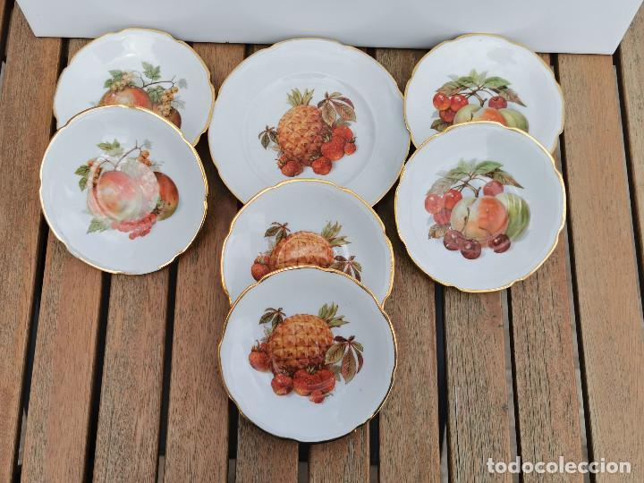 6 PLATITOS + 1 GRANDE PORCELANA SANTA CLARA VIGO - DECORACION FRUTAL (Antigüedades - Porcelanas y Cerámicas - Santa Clara)