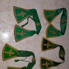 Antigüedades: LOTE DE 4 MANIPLES SEDA VERDE SIGLO XIX. Lote 204494837
