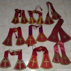 Antigüedades: LOTE DE 9 MANIPLES SEDA ROJA SIGLO XIX. Lote 204495142