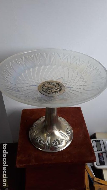 Antigüedades: centro de mesa en cristal tipo lalique ,atr-deco sobre 1930 - Foto 2 - 204500752