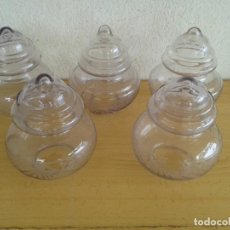 Antigüedades: 5 TULIPAS LAMPARA CRISTAL SOPLADO Y TALLADO. ARTESANALES. Lote 204502470