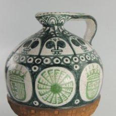 Antigüedades: ANTIGUO CANTARO DE CERAMICA TERUEL FORADO CON CUERO ESCUDOS OBJETO DE COLECCION. Lote 204528896