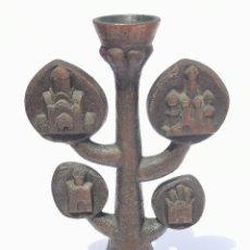 Antigüedades: ANTIGUO Y ORIGINAL CANDELABRO EN BRONCE DE 5 BRAZOS - PORTAVELAS. Lote 204533280
