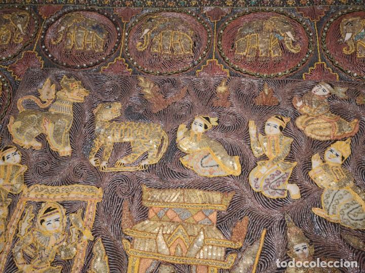 Antigüedades: Gran tapiz india, maharajás - Foto 8 - 204534281