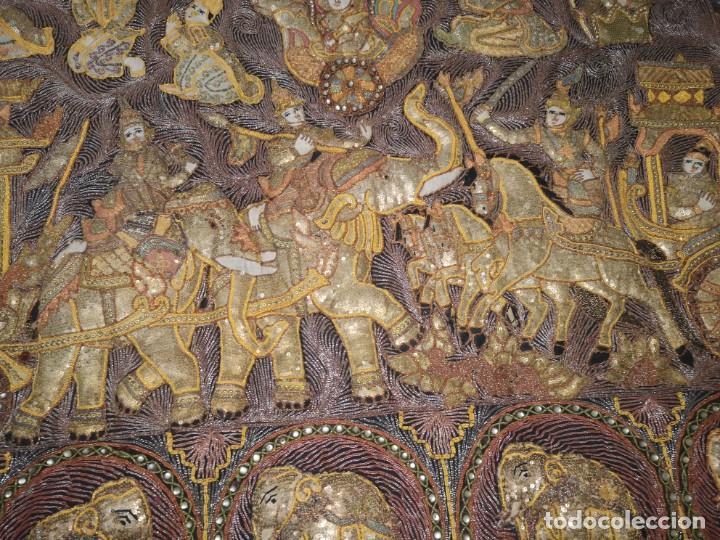 Antigüedades: Gran tapiz india, maharajás - Foto 9 - 204534281