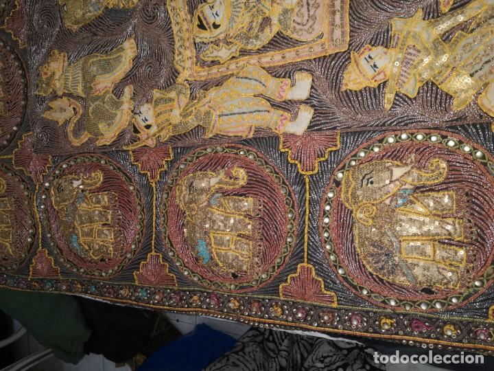Antigüedades: Gran tapiz india, maharajás - Foto 11 - 204534281
