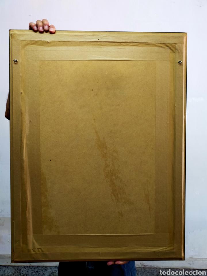Antigüedades: Tapiz artesanal con marco Los Pichones - Foto 5 - 204543292