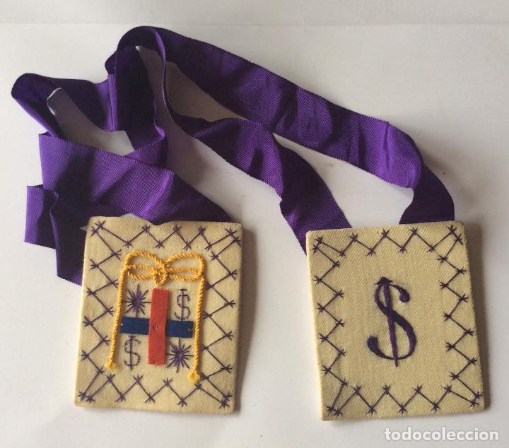 ANTIGUO ESCAPULARIO -MEDIDA 9X7,5CM (Antigüedades - Religiosas - Artículos Religiosos para Liturgias Antiguas)