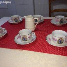 Antigüedades: JUEGO DE 6 TAZAS Y 6 PLATOS PARA CAFÉ ANTIGUOS - MÁS UNA LECHERA. Lote 204607498