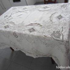 Antigüedades: EXCELENTE MANTEL- ARTESANÍA ' BORDADO DE MADEIRA ' 2.10 X 1.70 CM 12 SERVILLETAS 42X42CM + INFO. Lote 204622343