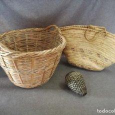Antiquités: LOTE DE OBJETOS RÚSTICOS, DE CAÑA, ESPARTO O SIMILAR, 2 CAPAZOS Y OTRO. Lote 204642891