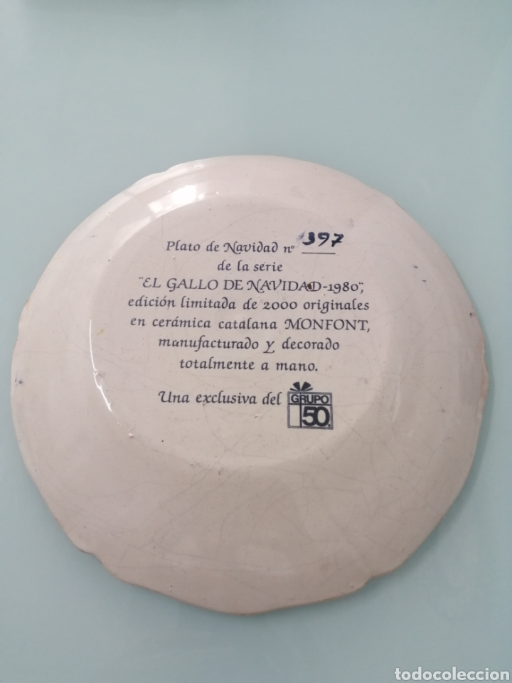 Antigüedades: PLATO DE NAVIDAD 1980 CERÁMICA CATALANA MONFONT. ED. LIMITADA. NUMERO 397. REALIZADO PINTADO A MANO - Foto 2 - 204645263