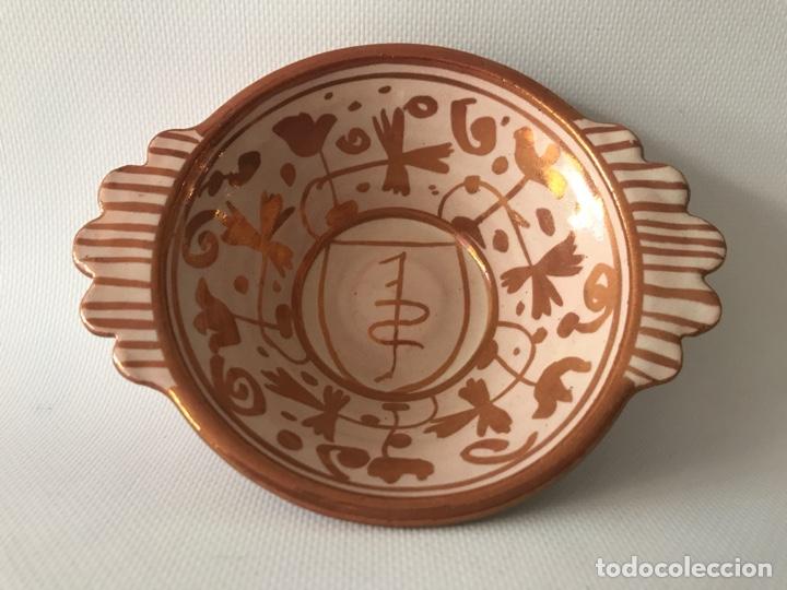Antigüedades: Escudella valenciana de cerámica de reflejo metálico de la fábrica La Ceramo. Años 30. - Foto 4 - 204659788