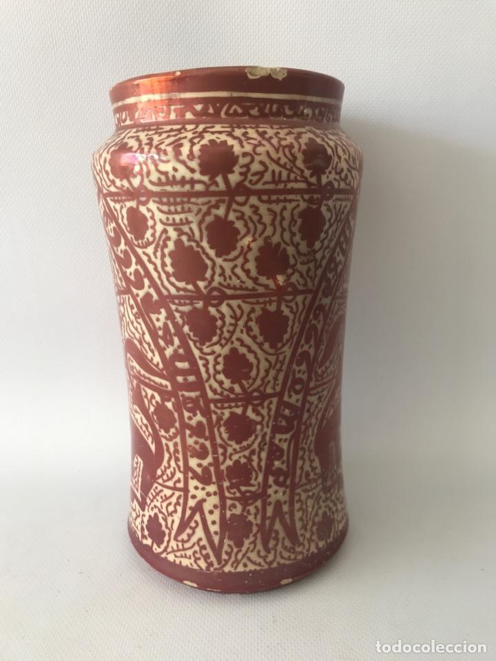 Antigüedades: Albarelo de reflejo metálico de Manises, con escudo. Primera mitad del siglo XX - Foto 4 - 204662926
