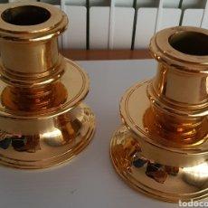 Antigüedades: CANDELEROS TORNEADOS DE BRONCE DORADO Y LATON. Lote 204673476
