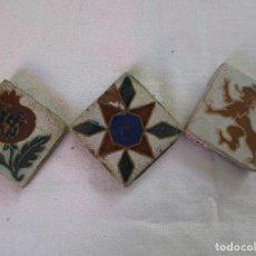 Antigüedades: TRES OLAMBRILLA AZULEJOS SIGLO XIX. Lote 204715152