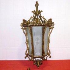 Antigüedades: IMPRESIONANTE GRAN FAROL DE BRONCE Y GRAN FLORON CON CRISTALES AL ACIDO Y TALLADOS.67 CM. Lote 204628585