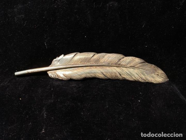 PLUMA DE PLATA 925 CONTRASTADA IDEAL PARA SANTO O SANTA TAMAÑO. (Antigüedades - Platería - Plata de Ley Antigua)