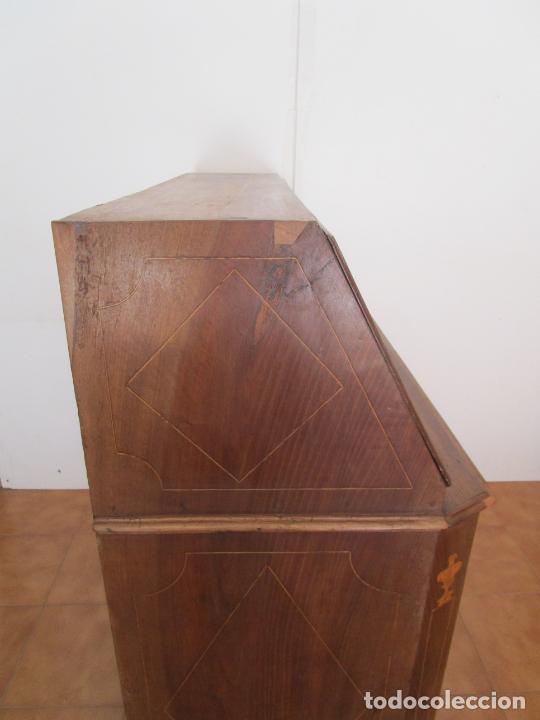 Antigüedades: Escritorio Catalán - Canterano - Madera de Nogal y Marquetería - Cerraduras de Bronce - S. XVIII - Foto 15 - 204781251