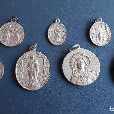 Oggetti Antichi: LOTE 7 MEDALLAS RELIGIOSAS DE ALUMINIO (ENTRE 4 Y 2,5CM APROX). Lote 204803183
