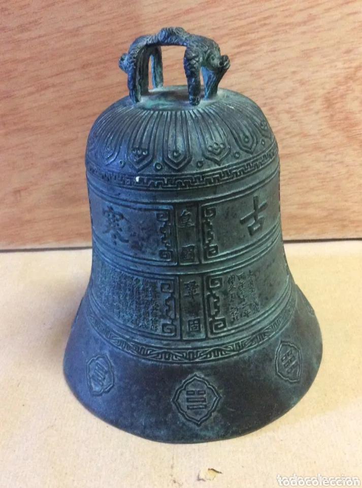 Antigüedades: Campana con asa de bronce, vintage - Foto 2 - 204838902