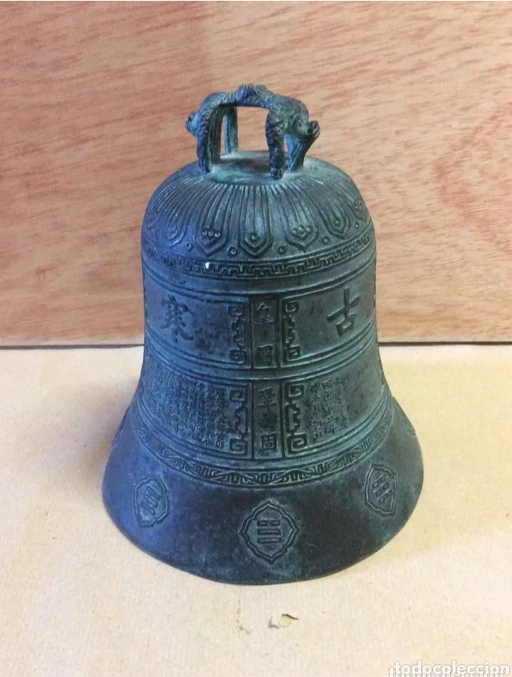 Antigüedades: Campana con asa de bronce, vintage - Foto 6 - 204838902