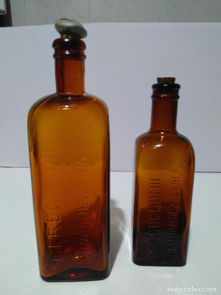 ANTIGUOS FRASCOS DE CEREGUMIL B FERNÁNDEZ SÁNCHEZ19 Y 16 CM (Antigüedades - Cristal y Vidrio - Farmacia )