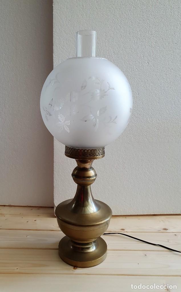 ANTIGUA LAMPARA DE SOBREMESA TIPO QUINQUE (Antigüedades - Iluminación - Lámparas Antiguas)