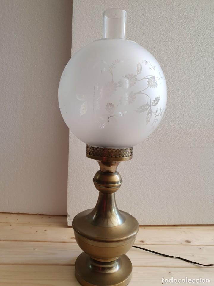 Antigüedades: ANTIGUA LAMPARA DE SOBREMESA TIPO QUINQUE - Foto 3 - 204849025