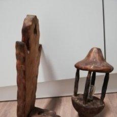 Antigüedades: ANTIGUA LAMPARA APLIQUE PARED DE MADERA. IDEAL CASA RURAL, BODEGA.... Lote 204995611