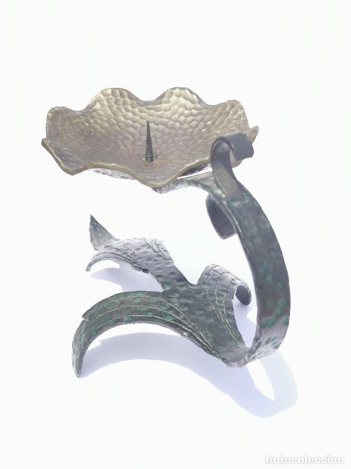 Antigüedades: ANTIGUO PORTAVELAS - BRONCE - MUY ELABORADO - PALMATORIA - CANDELABRO - GRAN TAMAÑO - Foto 3 - 204996933