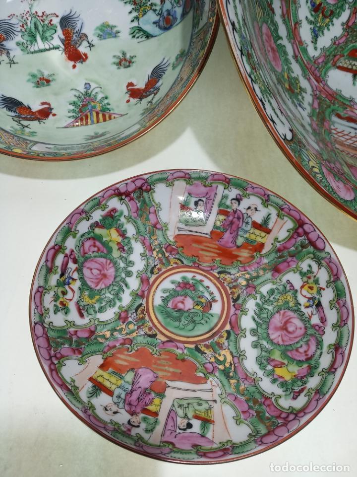 Antigüedades: Gran conjunto de porcelana china de cantón. Gran fuente, cuenco, platos, cuchara. - Foto 4 - 205001190