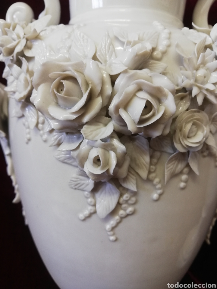 Antigüedades: Pareja jarrones porcelana algora - Foto 2 - 205004555