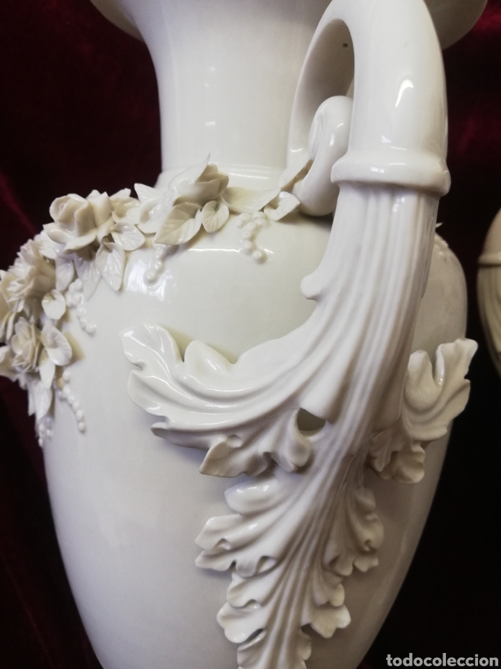 Antigüedades: Pareja jarrones porcelana algora - Foto 3 - 205004555