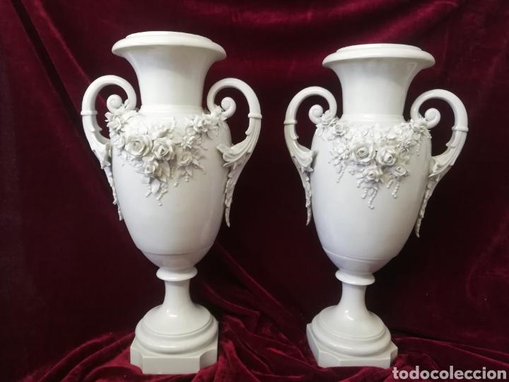 PAREJA JARRONES PORCELANA ALGORA (Antigüedades - Porcelanas y Cerámicas - Algora)