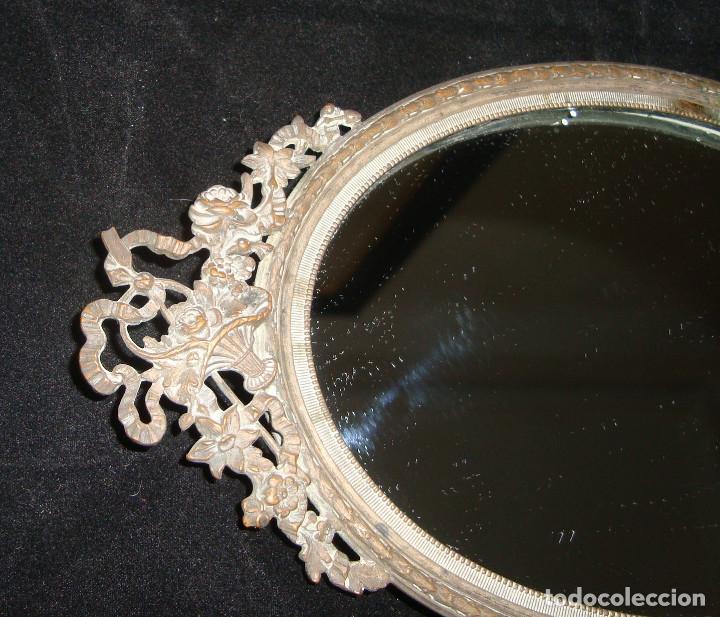Antigüedades: ANTIGUO ESPEJO DE TOCADOR CON MARCO PLATEDADO - Foto 2 - 205029487