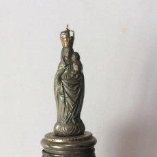 Antigüedades: ANTIGUA VIRGÉN DEL PILAR CON BASE DE MÁRMOL JASPEADO - 26 CM ALTURA. Lote 205037142