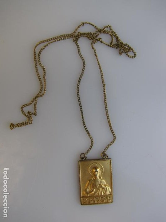 Antigüedades: 2- Escapulario. o mi Jesús misericordia. Baño oro - Foto 2 - 205043463