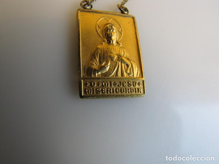Antigüedades: 2- Escapulario. o mi Jesús misericordia. Baño oro - Foto 3 - 205043463