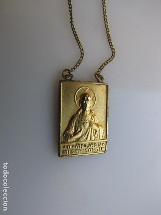 2- ESCAPULARIO. O MI JESÚS MISERICORDIA. BAÑO ORO (Antigüedades - Religiosas - Escapularios Antiguos)