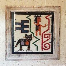 Antigüedades: TAPIZ ANDINO HECHO A MANO EN TELAR Y ENMARCADO. Lote 205053265