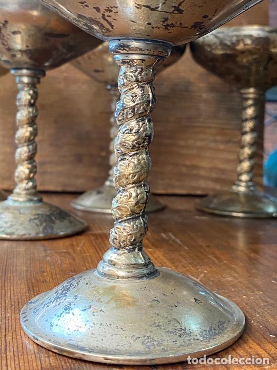 Antigüedades: LOTE DE SEIS COPAS EN ALPACA - Foto 5 - 205102383